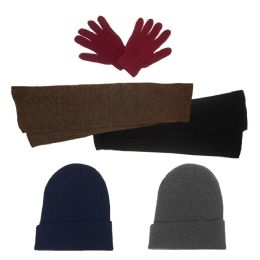 Unisex Winter Gloves, Scarf, Beanie in 5 Assorted Colors 144 pack