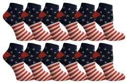 Yacht & Smith USA Printed Ankle Socks Size 9-11 12 pack