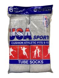 Usa Men's Sport Tube Socks, Referee Style, Size 9-15 Solid Gray Bulk Buy