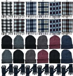 Winter Bundle Care Kit Adult Unisex- Hats Gloves Beanie Fleece Scarf Set In Assorted Colors 360 pack
