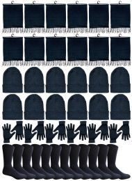 Winter Bundle Care Kit For Woman, 4 Piece - Hats Gloves Beanie Fleece Scarf Set In Solid Black 240 pack