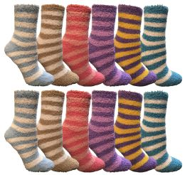 Yacht & Smith Women's Fuzzy Snuggle Socks , Size 9-11 Comfort Socks Assorted Stripes 12 pack