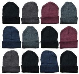 YACHT & SMITH 12 Pack Winter Beanie Hats, Thermal Stretch Unisex Cuffed Plain Skull Knit Hat Cap (Assorted Pack A) 12 pack
