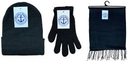Yacht & Smith 3 Piece Winter Care Set, Solid Black Hat Glove Scarf Bulk Buy 72 pack