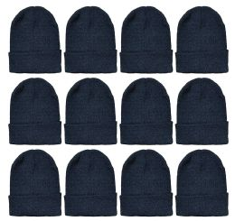 Yacht & Smith Black Beanies Bulk Thermal Winter Hat Solid Black 288 pack