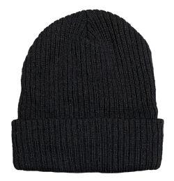 Yacht & Smith Black Ribbed Sherpa Beanie, Super Warm Winter Beanie BULK BUY 240 pack