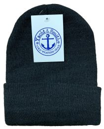 Yacht & Smith Black Unisex Winter Warm Beanie Hats, Cold Resistant Winter Hat BULK BUY 144 pack