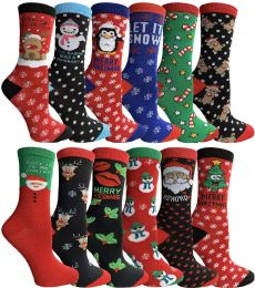 Yacht & Smith Christmas Holiday Crew Socks Assorted Holiday Design Size 9-11 60 pack