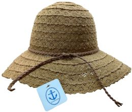 Yacht & Smith Cotton Crochet Sun Hat Soft Lace Design, Coffee
