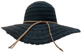 Yacht & Smith Cotton Crochet Sun Hat Soft Lace Design, Style B - Black