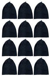 Yacht & Smith Fleece Unisex Warm Neck Warmer Scarf, Wholesale Bulk Winter Gear (12 Pack Fleece Black) 24 pack