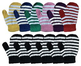 Yacht & Smith Kids Striped Mitten With Stretch Cuff Ages 2-8 BULK BUY 240 pack
