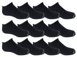 Yacht & Smith Kids Unisex Low Cut No Show Loafer Socks Size 6-8 Solid Navy 48 pack