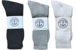 Yacht & Smith King Size Men's Cotton Crew Socks Set Assorted Colors Black, White Gray Size 13-16