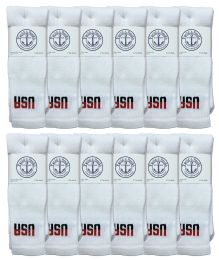 Yacht & Smith Men's Cotton 28 Inch Tube Socks, Referee Style, Size 10-13 White With Usa Print Bulk Buy 240 pack