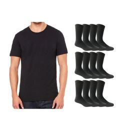 Yacht & Smith Men's Cotton Crew Socks Size 10-13 And Black Solid T-Shirt Size Medium 120 pack