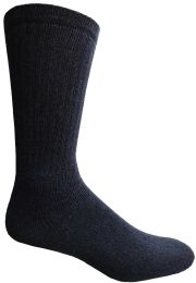 Yacht & Smith Men's King Size Cotton Terry Cushioned Crew Socks Navy Size 13-16 Bulk Pack