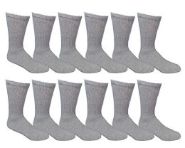 Yacht & Smith Men's King Size Loose Fit Non-Binding Cotton Diabetic Crew Socks Gray Size 13-16 12 pack