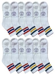 Yacht & Smith Men's King Size Cotton Sport Ankle Socks Size 13-16 With Stripes Bulk Pack 60 pack