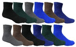 Yacht & Smith Men's Warm Cozy Fuzzy Socks Solid Assorted Colors, Size 10-13