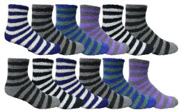 Yacht & Smith Men's Warm Cozy Fuzzy Socks, Stripe Pattern Size 10-13