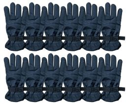 Yacht & Smith Men's Winter Warm Ski Gloves, Fleece Lined With Black Gripper Water Resistant Bulk Buy 72 pack