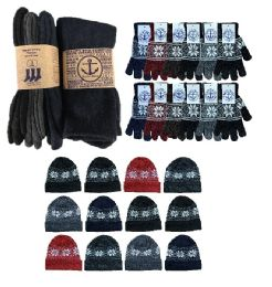 Yacht & Smith Mens 3 Piece Winter Care Set, Fleece Hat, Thermal Sock, Snow Flake Glove 180 pack