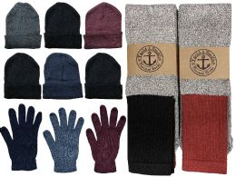 Yacht & Smith Mens 3 Piece Winter Set , Thermal TUBE Socks Gloves And Beanie Hat 144 pack