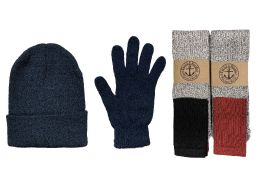 Yacht & Smith Mens 3 Piece Winter Set , Thermal TUBE Socks Black Gloves And Beanie Hat 144 pack
