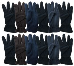 Yacht & Smith Mens Double Layer Heavy Fleece Gloves Packed Assorted Colors BULK BUY 144 pack
