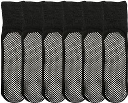 Yacht & Smith Mens Loose Fit Gripper Bottom Diabetic NoN-Skid Slipper Black Socks, Grippy Hospital Sock, Size 10-13 6 pack