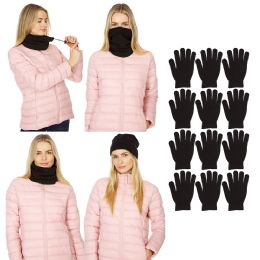 Yacht & Smith Unisex Warm Winter Neck Gaitor And Glove And Beanie Set Solid Black 720pieces