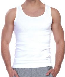 Yacht & Smith Mens White Ribbed 100% Cotton Tank Top Size M