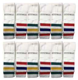Yacht & Smith Men's Cotton Tube Socks, Referee Style, Size 10-13 White With Stripes 12 pack