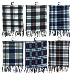 Yacht & Smith Unisex Warm Winter Plaid Fleece Scarfs Assorted Colors Size 60x12 144 pack