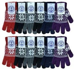 Yacht & Smith Snowflake Print Womens Winter Gloves With Stretch Cuff 240 Pairs Bulk Buy 240 pack