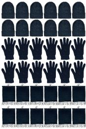 Yacht & Smith Unisex 3 Piece Pre Assembled Winter Care Set Hat Gloves & Scarf Solid Black 24 pack