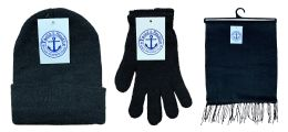 Yacht & Smith Unisex 3 Piece Winter Care Set, Black Beanie Hat, Black Magic Gloves And Black Fleece Scarf 180 pack