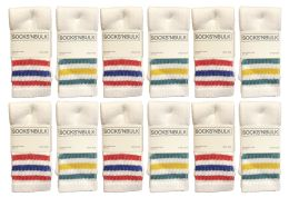 Yacht & Smith Kids Cotton Tube Socks Size 6-8 White With Stripes 12 pack