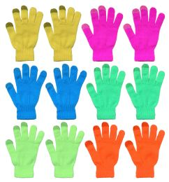 Yacht & Smith Unisex Neon Winter Texting Gloves, Warm Thermal Winter Gloves Bulk Buy 144 pack