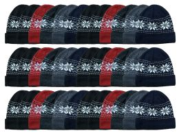 Yacht & Smith Unisex Snowflake Heavy Fleece Lined Winter Beanie Hat Bulk Buy 144 pack