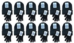 Yacht & Smith Unisex Warm Winter Hats And Glove Set Solid Black 24 Piece 24 pack