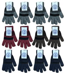 Yacht & Smith Unisex Winter Gloves, Magic Stretch Gloves In Assorted Stripe Colors 240 Pairs Bulk Buy 240 pack