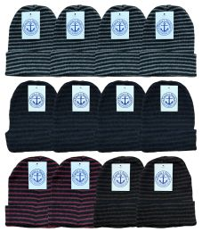 Yacht & Smith Unisex Knit Winter Hat With Stripes Assorted Colors 144 pack