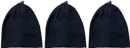 Yacht & Smith Warm Fleece Beanie Face Cover And Scarf With Adjustable Strap , Solid Black 3 pack