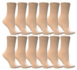 Yacht & Smith Women's Fuzzy Snuggle Socks White, Size 9-11 12 pack