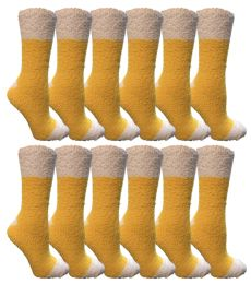 Yacht & Smith Women's Fuzzy Snuggle Socks , Size 9-11 Comfort Socks Yellow With White Heel and Toe 12 pack