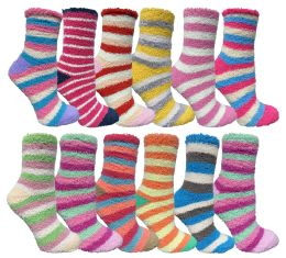 Yacht & Smith Women's Fuzzy Snuggle Socks , Size 9-11 Comfort Socks Assorted Stripes 120 pack