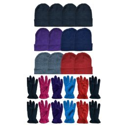 Yacht & Smith Women's Winter Care Set, Fleece Gloves And Winter Beanie Set 288 pack