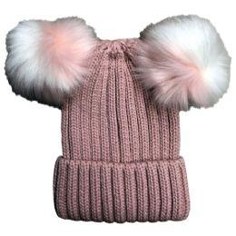 Yacht & Smith Womens 3 Inch Double Pom Pom Ribbed Beanie Hat, Pink